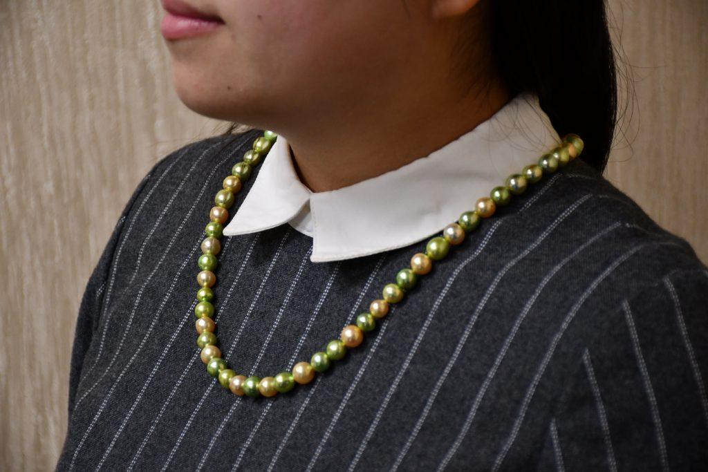 あこや真珠ピスタチオゴールドネックレス